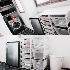 다용도실 역시 모노톤의 수납유닛으로 깔끔하게 정돈되어 있어요. (휴지통까지 깔맞춤!)