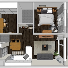 ▲ 가구 구입 전 만들어본 3D 시뮬레이션  오래된 아파트지만 같은 평형의 다른 집보다 넓어 보이는 구조에 반해 이 집을 선택하게 됐어요.  리모델링을 한지 얼마 되지 않은 집이기도 했고, 전세라 더 욕심 부리지 않고 별도의 공사없이 가구와 소품으로만 집을 꾸며보기로 했답니다.