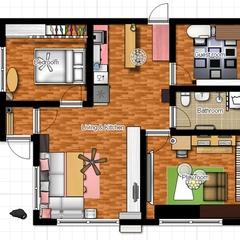집을 몇번 고쳐보더니 이제는 도면도 업그레이드 했습니다.   저 도면 그리는 사이트에 들어가서 가구를 한참 들었다 놨다 하더니 결국 이런 집이 완성되었습니다.    + 필름지 구입처 : 장덕수 시트지 연구소 www.jdsoo.co.kr 몰딩시트지 - 무늬목우드화이트 [ 몰딩 IT910-1 ] 69,300원 (77개) 최고급시트지-무늬목인테리어필름[ IT910-1 ] 27,600원(4개) 최고급단색시트지-3M인테리어필름 /무광핑크 옐로우 [ MC142 ] 48,000(6개)  + 풀바른 벽지 구입처 : 월플랜 www.wallplan.co.kr  벽지 - [풀바른합지]GT9325-9, G39191-4, C4393-4 총183,923원  + 페인트 : 홈스타 파스텔OK 플러스, 용량 선택:4L/색상 선택:백색/광도 선택:반광 44,500원(1개)  + 단열벽지 : 11번가 - 드림벽지6000(폭1mx길이50cm)단열벽지.단열재.외풍차단.기능성벽지.습기방지.곰팡이방지.단열보온.결로방지 - 136,840원  + 조명 : 비비나 라이팅  www.vivina-lighting.com 418,000원 라파엘 삼파장용 5구 실링팬-블랙 - 250,000원 이브 구름등 1등 펜던트 - 18,000원 로렐1등 펜던트(E26) - 64,000원 스위치우드커버(소)/원목 커버/스위치커버/콘센트/ - 3,000원  빈티지레일형 1m 3구세트 @B @BD - 86,000원 설치비 - 120,000원 추가  +가구정보 거실장 : 학교 과학실장 리폼 거실테이블 : 상판 횟집도마 + 프레임 수족관 받침대 리폼 소파 : 앰비언트 라운지 북타워, 옷장, 서랍장 : 이케아