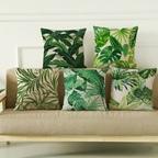 [해외] 그린 열대 숲 면마 쿠션&쿠션커버  / 6Type