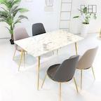 [기간한정] 크리스탈 코팅 천연 대리석 골드 환봉 식탁 테이블_CL084
