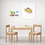 LATT 어린이 테이블과 의자 2개 세트
