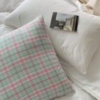 Ending Mint Check Pillow Cover