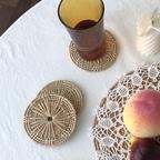 원형 라탄 티 코스터 컵받침 컵홀더 캔들홀더
