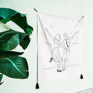 [자취특가] 메모리얼 드로잉 패브릭 포스터 / 가리개커튼