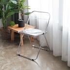 [단독특가] 투명 접이식 플리아 체어 (화이트/브라운)