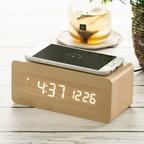 우드 무선충전 데이트 LED 탁상시계