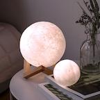 3D 터치 보름달 LED 대형 무드등(원목받침대 포함)