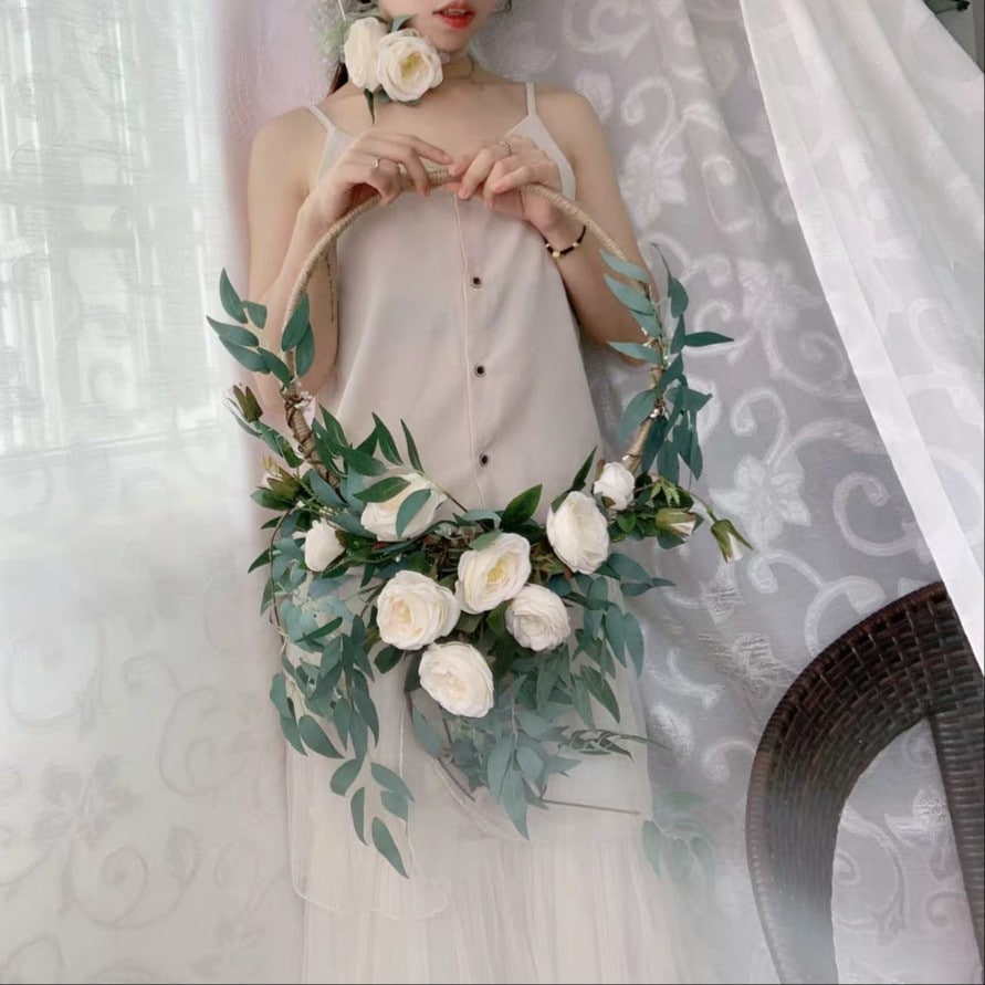 화이트 장미 루프 오브제 - 오리엔탈무드, 68,000원, 조화, 리스/가랜드
